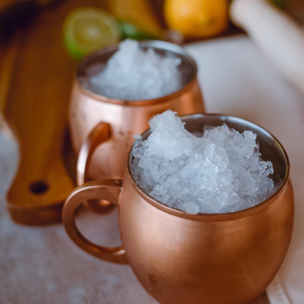 Copper mule cups, crushed ice